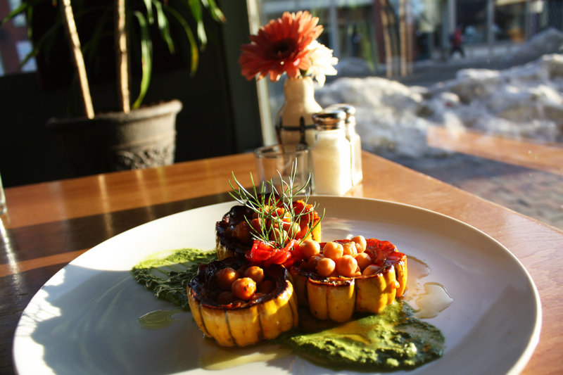 Local 188 will serve vegan and gluten-free Indian barbecued chickpeas, baked inside delicata squash with a coconut cilantro chutney during Maine Restaurant Week.
