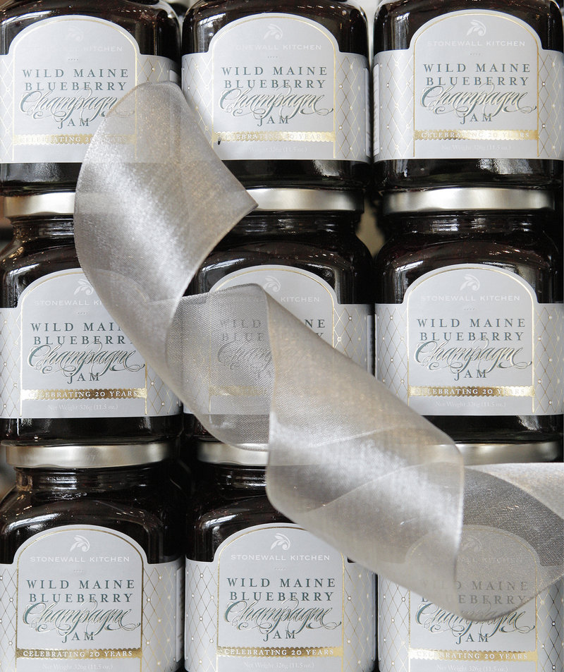 Wild Maine Blueberry Jam was one of the first jams Stonewall Kitchen ever created and it remains their top-selling product. For its 20th anniversary, the company has made a special Wild Maine Blueberry Champagne Jam. A switch to vacuum kettles is planned as a way to keep improving.
