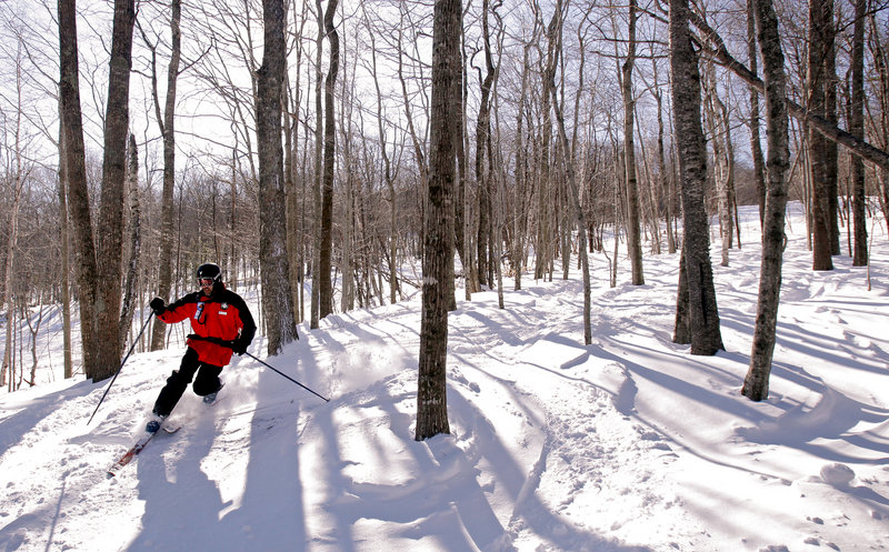 Jeff Kuller, director of Camden Snow Bowl, skis one of the mountain's glades earlier this month.