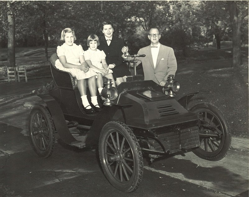 Will Borders' relatives are shown with the car, circa 1954: Barbara and James Burkham, his grandmother and grandfather; Barbara (Burkham) Borders at age 10, his mother; and Nancy (Burkham) Williams, at age 7, his aunt.