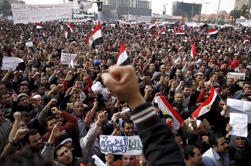 Anti-government protesters throng Tahrir Square in Cairo earlier this month in opposition to President Hosni Mubarak.