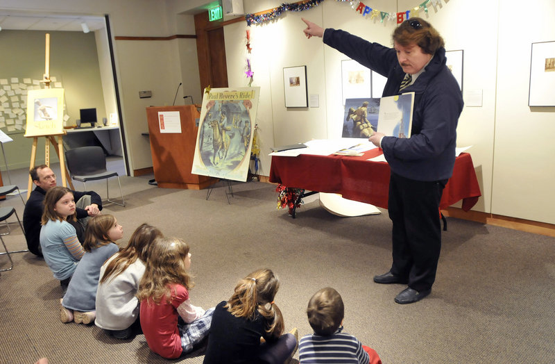 """Historian and former state Rep. Herb Adams reads """"Paul Revere's Ride"""" to an engaged audience during a birthday celebration for Henry Wadsworth Longfellow at the Maine Historical Society in Portland on Saturday."""