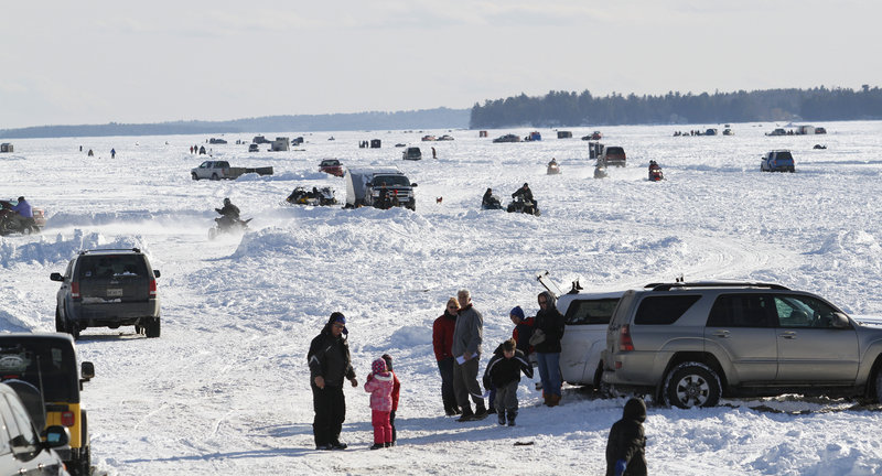 Photos sebago lake rotary derbyfest the portland press for Ice fishing maine