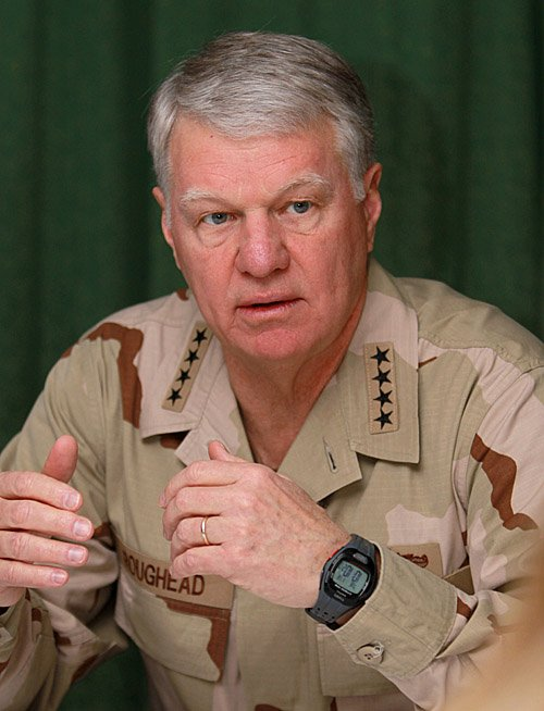 U.S. Chief of Naval Operations Adm. Gary Roughead speaks to journalists at the U.S. Navy base in Bahrain on Tuesday.