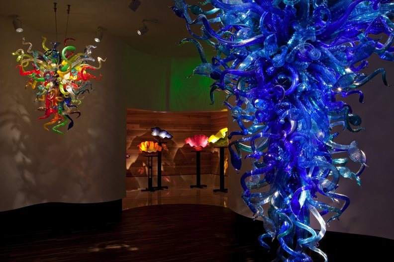 A huge deep blue chandelier is one of the first things you see when you enter the Dale Chihuly exhibit at the Morean Arts Center of St. Petersburg.