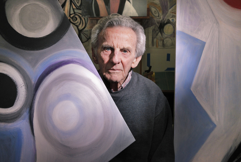 """Robert Nason paints every day. """"He is here seven days a week, eight hours a day,"""" says Susie Schweppe, who operates the studio-gallery space Running with Scissors, where Nason keeps a studio, and who curated Nason's current show."""