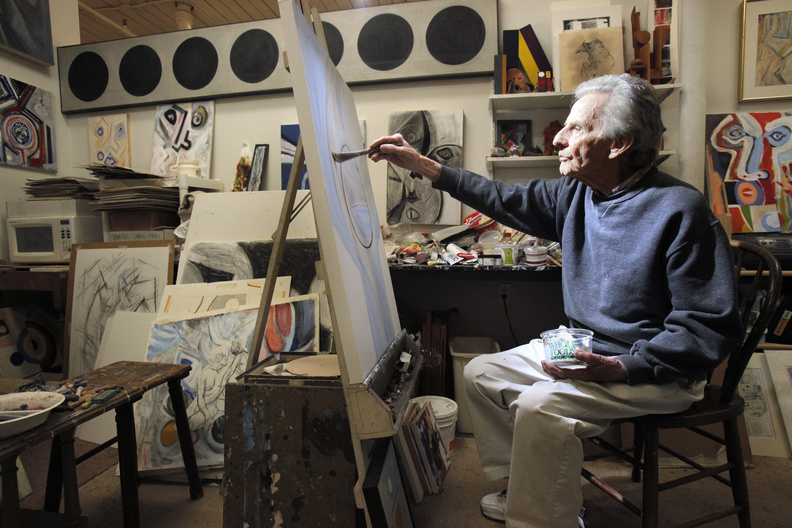 Robert Nason at work in his studio at Running with Scissors in Portland.
