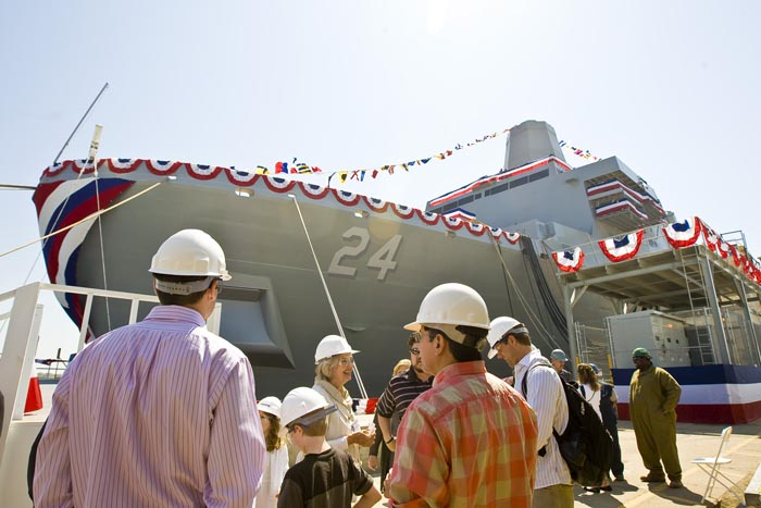 The Arlington (LPD 24), the third in a series of U.S. Navy amphibious assault vessels named in honor of the victims of the 9/11 terrorist attacks, at Northrop Grumman Shipbuilding in Pascagoula, Miss., awaits christening recently.