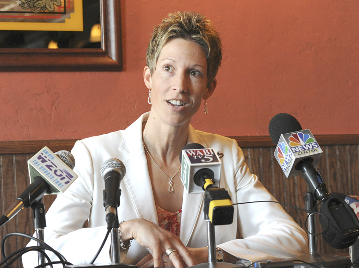Cindy Blodgett holds a press conference at Paddy Murphy's restaurant in Bangor about her firing as women's basketball coach at the University of Maine.