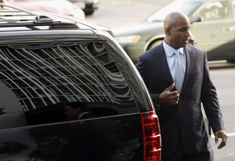 Barry Bonds arrives at the federal courthouse in San Francisco today.