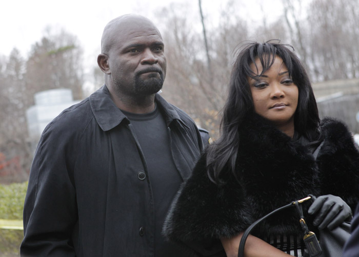 Former New York Giants football star Lawrence Taylor arrives with his wife, Lynette Taylor, at the Rockland County Courthouse for his formal sentencing in New City, N.Y., today.