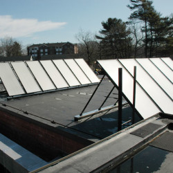 The university's Sustainability Office received a $50,000 grant in 2010 to install the solar hot water system and performance monitoring display at the Campus Center.