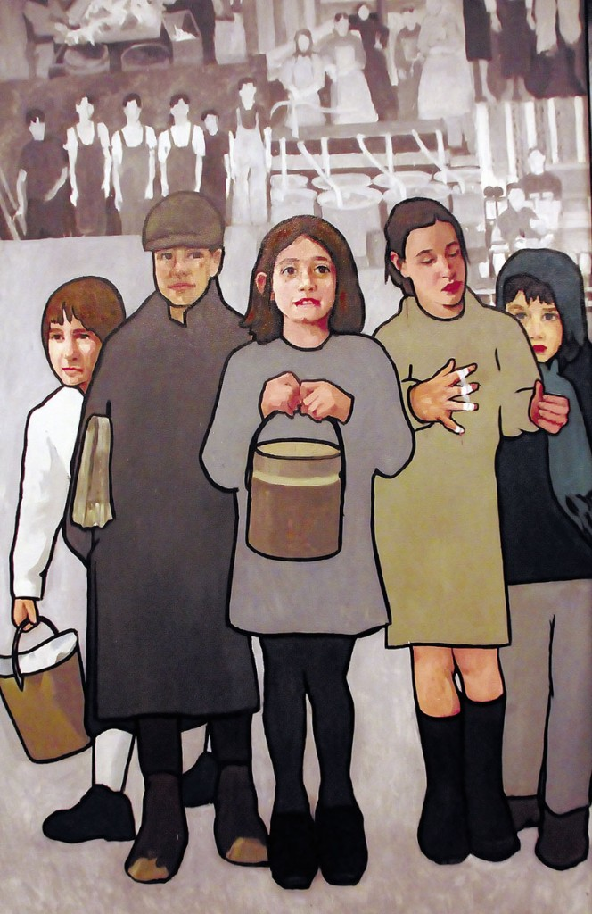 One panel of Tremont artist Judy Taylor's Labor History Mural features child laborers. The 11-panel mural located in the Department of Labor's lobby has a fate unknown after Gov. Paul LePage ordered it removed.