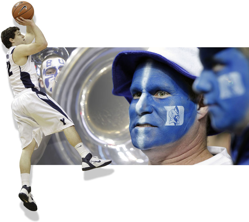 Jimmer Fredette, a smooth-shooting guard, has put Brigham Young University in the Sweet 16 for the first time since 1981, while the Duke fans are used to this time of year. The Blue Devils, love them or hate them, are the defending national champions.