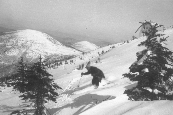 Amos Winter, Sugarloaf's founder, skis the Carrabassett Valley snowfields, circa 1952. Such images documenting Maine's ski history are on view at the Ski Museum of Maine in Kingfield.