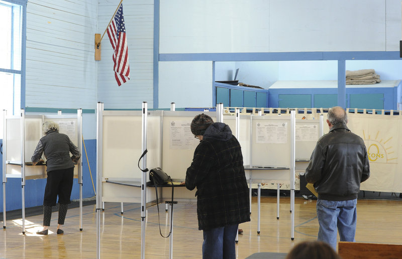 Bridgton residents vote at Town Hall on Tuesday.