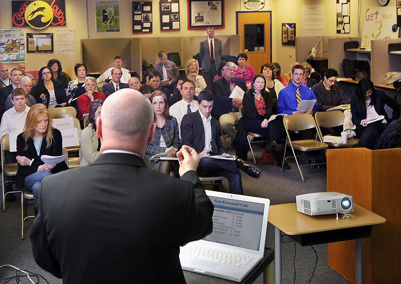 """Superintendent Jim Morse explains his 2011-2012 proposed budget to Portland school board members, teachers, staff and the public Tuesday at Casco Bay High School/PATHS. """"This was an extremely difficult budget to prepare,"""" he said."""