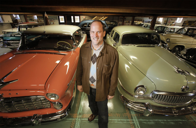 Tim Stentiford hopes to open the antique car museum he's calling Motoropolis by the spring of 2012. On the left is a 1955 Hudson Wasp Hollywood and on the right a 1951 Nash Ambassador.