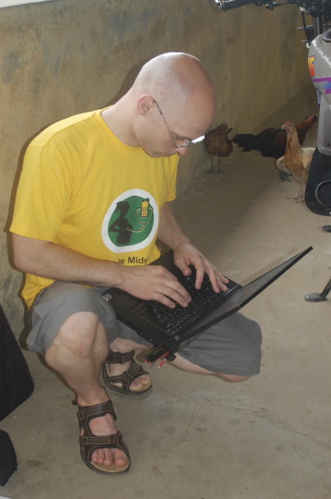 Brent Atkinson of Hollis was part of the University of Southern Maine team that helped create the Mobile Midwife program for nurses and pregnant women in Ghana. He is shown deploying the system last fall in Navrongo, Ghana.