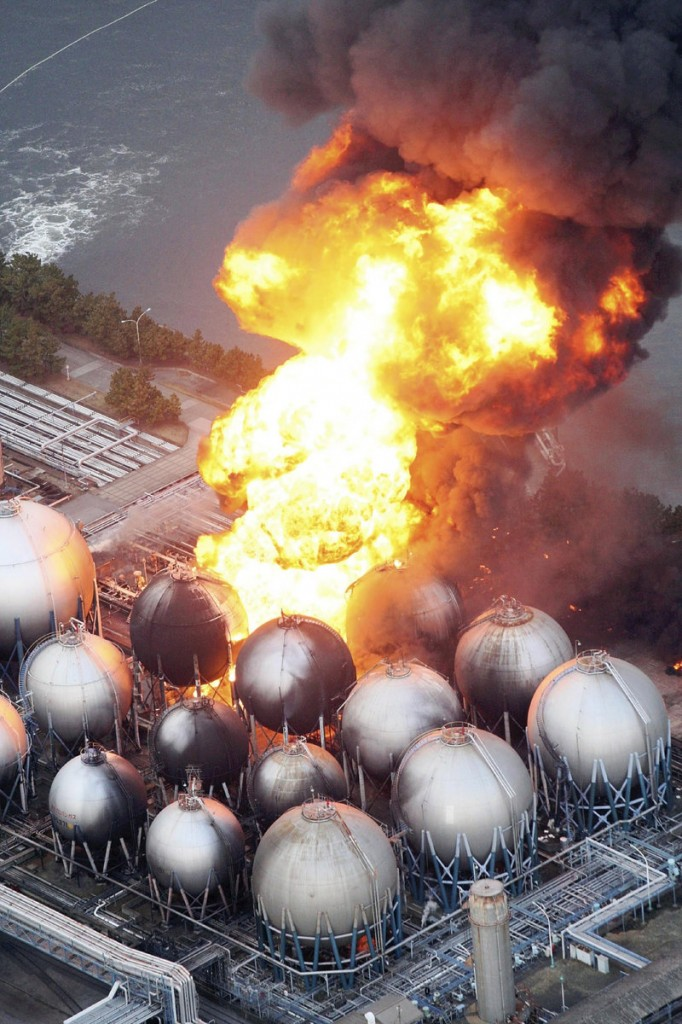 An oil refinery facility is on fire in Ichihara, Chiba Prefecture, near Tokyo on Friday after a powerful 8.9-magnitude earthquake and tsunami devastated parts of Japan.