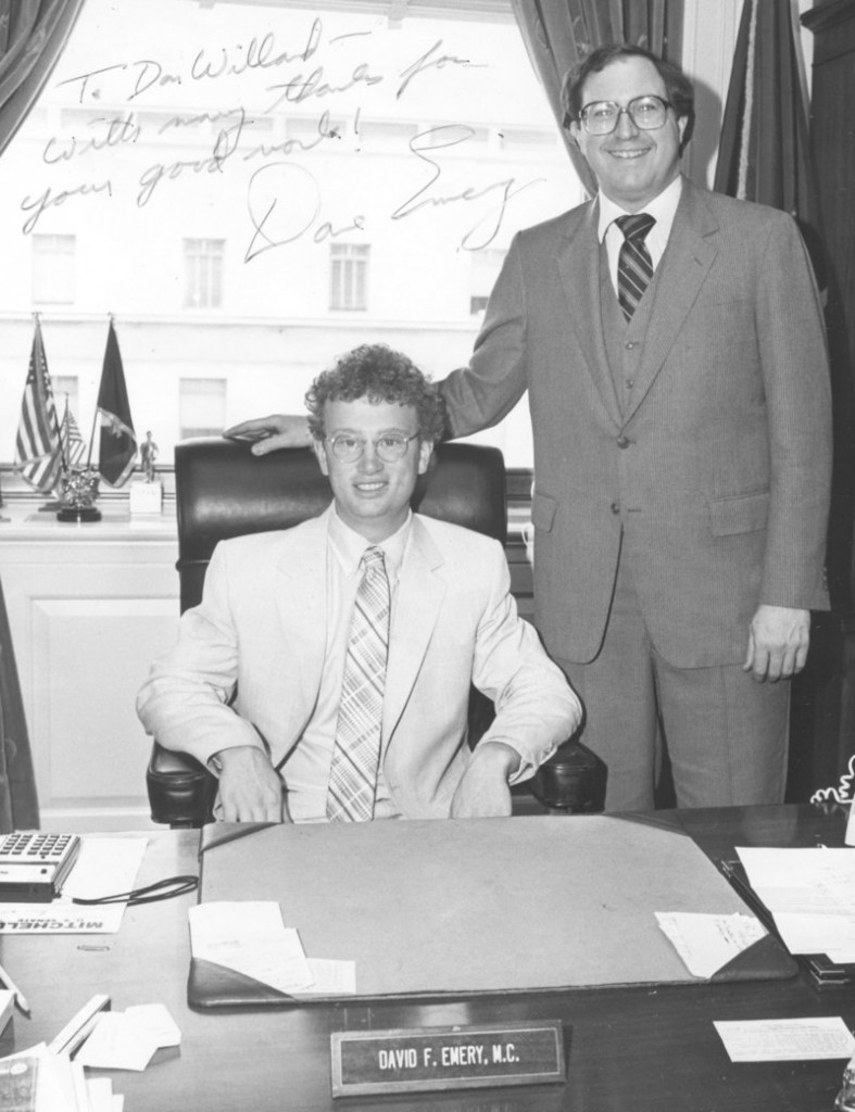Don Willard, left, sits at the desk of Maine Republican U.S. Rep. David Emery, right, during his internship in 1982.
