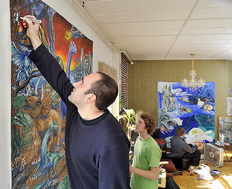 Eric Giddings, in a Portland apartment with his friends, Ben Braley and Zach Nedwell, developed an interest in art while in school at South Portland, even as he became one of the state's best runners.