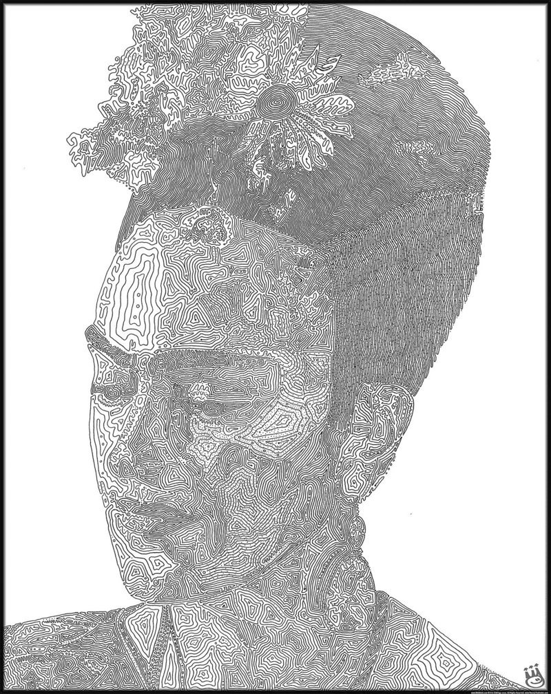 Eric Giddings uses non-intersecting lines instead of dots to indicate shading, as in this portrait of Mexican painter Frida Kahlo.