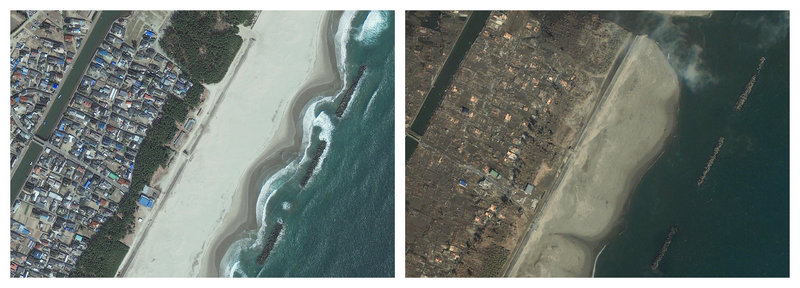 A combination of images provided by GeoEye shows the Arahama area of Sendai, Japan, on April 10, 2010, left, and Saturday after the earthquake struck, causing a tsunami that devastated the region. Scientists have already determined that Friday's earthquake shifted Earth on its axis, slightly shortening the length of a day.