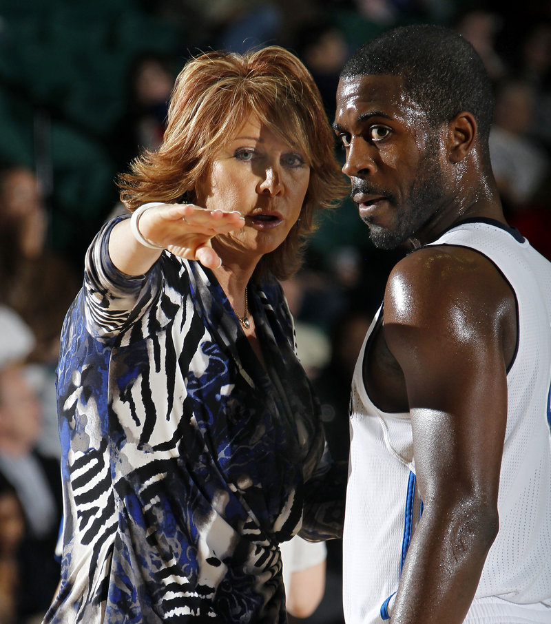 Nancy Lieberman, coach of the NBA D-League Texas Legends, tonight and Sunday will meet some of the women she inspired over the course of her varied and colorful career when her team plays the Red Claws. At right is guard Justin Dentmon, the Legends' second-leading scorer with 19.5 points per game.