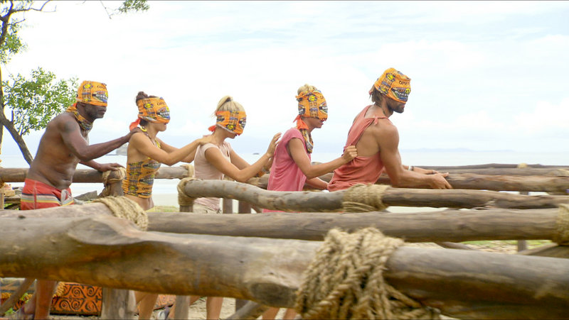"""Ometepe tribe members Phillip Sheppard, Natalie Tenerelli, Andrea Boehlke, Ashley Underwood and Grant Mattos compete in the """"Smoko"""" challenge during the fifth episode of """"Survivor: Redemption Island,"""" which aired Wednesday night."""