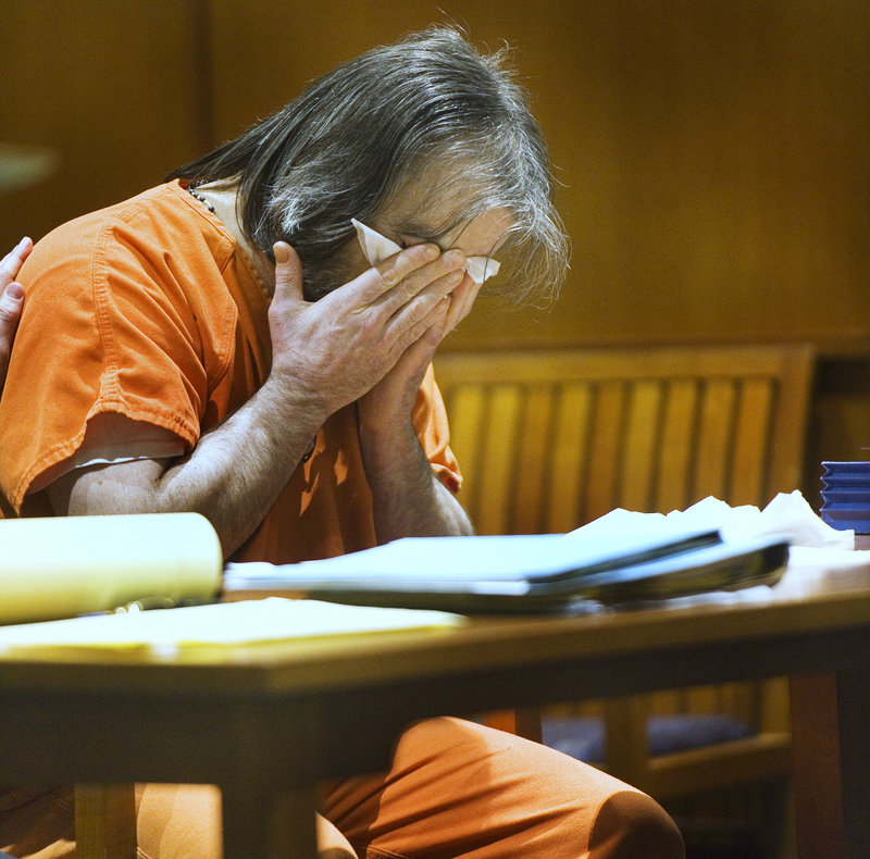 William Hanaman breaks down Thursday in court after asking for forgiveness from the family of Marion Shea, the woman he was convicted of murdering in November 2009.