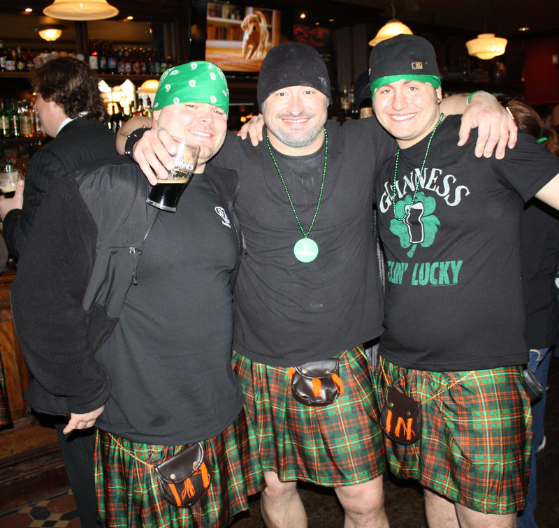Chris Cherest of Westbrook, Cisco Powell of Westbrook and Cy Platt of Gorham, who took the plunge in their kilts.