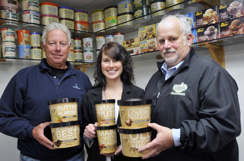 Roger Gifford, Lindsay Gifford-Skilling and John Gifford are among family members who keep Gifford's Ice Cream going.