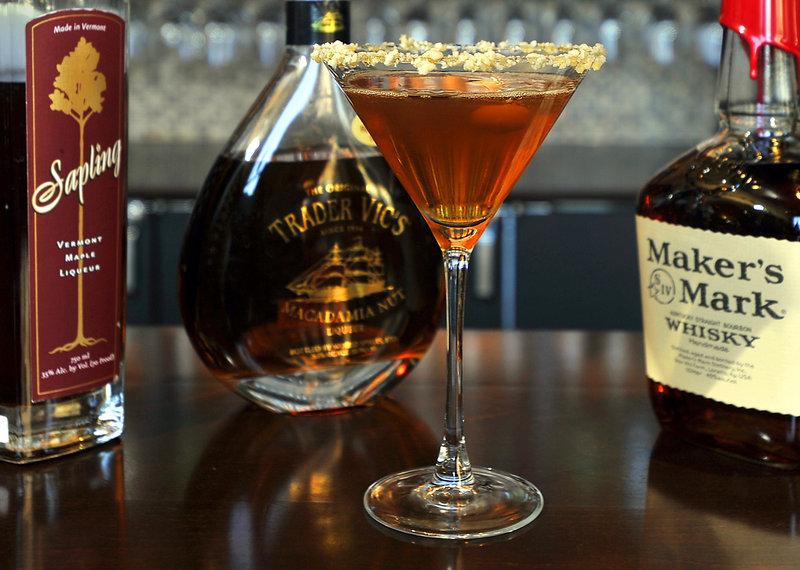 The Mark of the Maple cocktail blends maple liqueur and maple syrup with Maker's Mark bourbon.