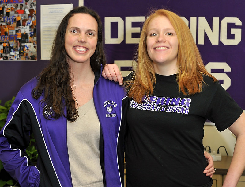Angie Chessey, left, Deering High School swim coach, rewarded the determination of senior co-captain Stephanie Libby, right, by entering her in a relay at the state meet.