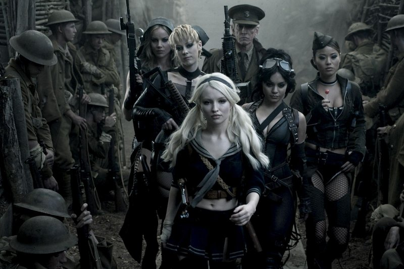 From left, Abbie Cornish as Sweet Pea, Jena Malone as Rocket, Emily Browning as Babydoll, Scott Glenn as the Wise Man, Vanessa Hudgens as Blondie and Jamie Chung as Amber in