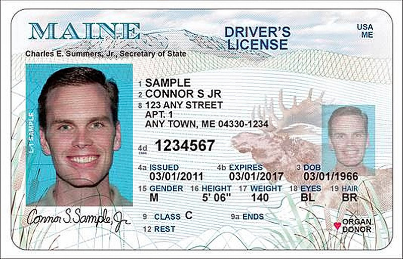 A sample of the new Maine driver's license.