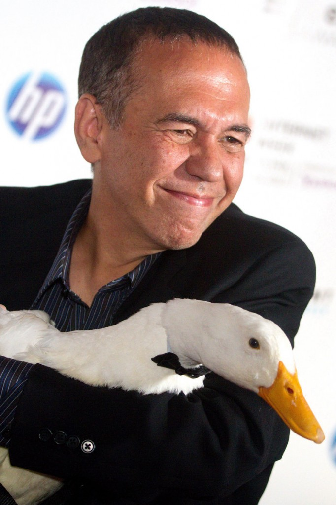The Aflac duck with his former voice, Gilbert Gottfried, in June 2010.