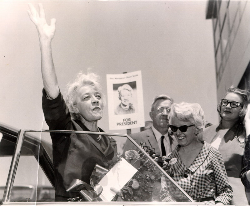 Former Sen. Margaret Chase Smith arrives at the Republican National Convention in San Francisco in 1964. Smith is the subject of a Women's History Month program Saturday at the Bethel Historical Society.