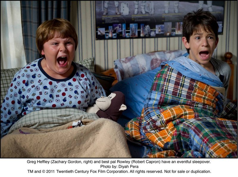 "Greg Heffley (Zachary Gordon, right) and best pal Rowley (Robert Capron) have an eventful sleepover in ""Diary of a Wimpy Kid: Rodrick Rules."""