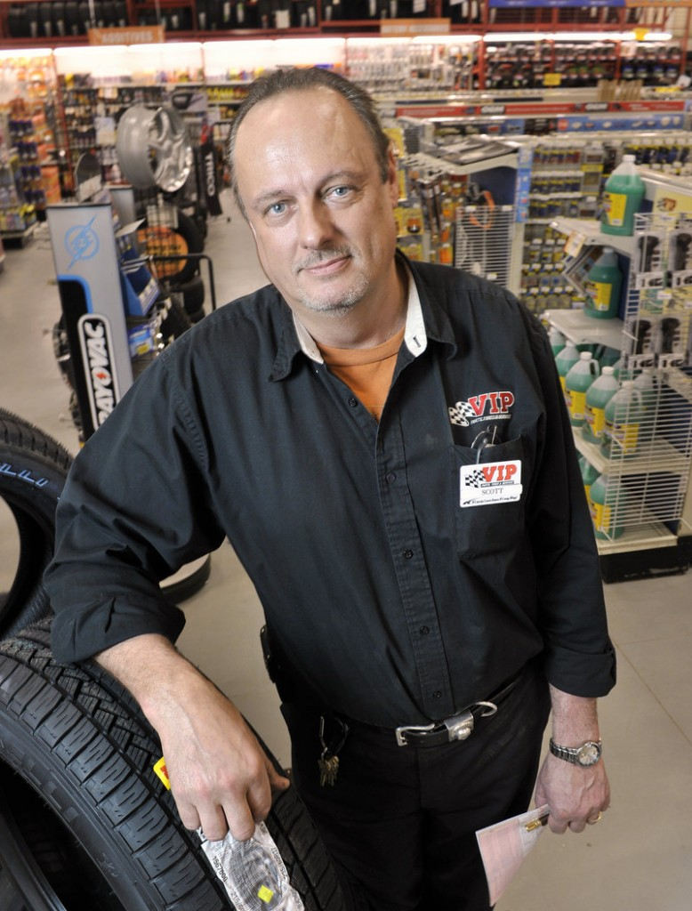 """Scott Watkins, manager of the VIP automotive store near Exit 48 of the Maine Turnpike, says turnpike authority officials have listened to his concerns about business, but the bottom line is """"they do have to get the bridge fixed."""""""