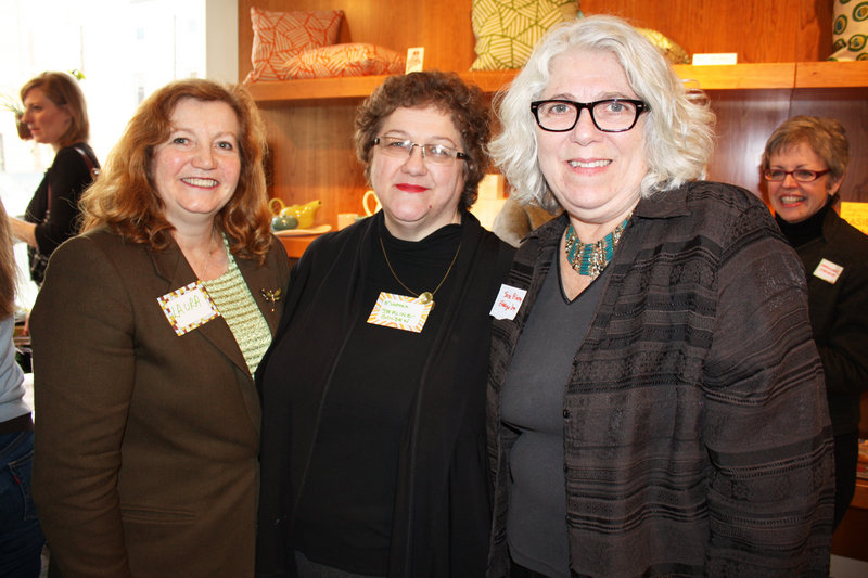 Laura Fortman, Martha Sterling-Golden, who serves on the Emerge Maine board, and Sara Bloom, a program alum.