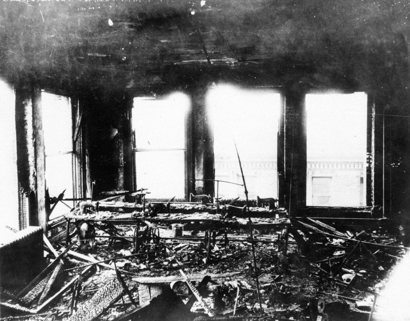 This photo shows the burned-out remains of the Triangle Shirtwaist Co. in New York's Greenwich Village neighborhood.