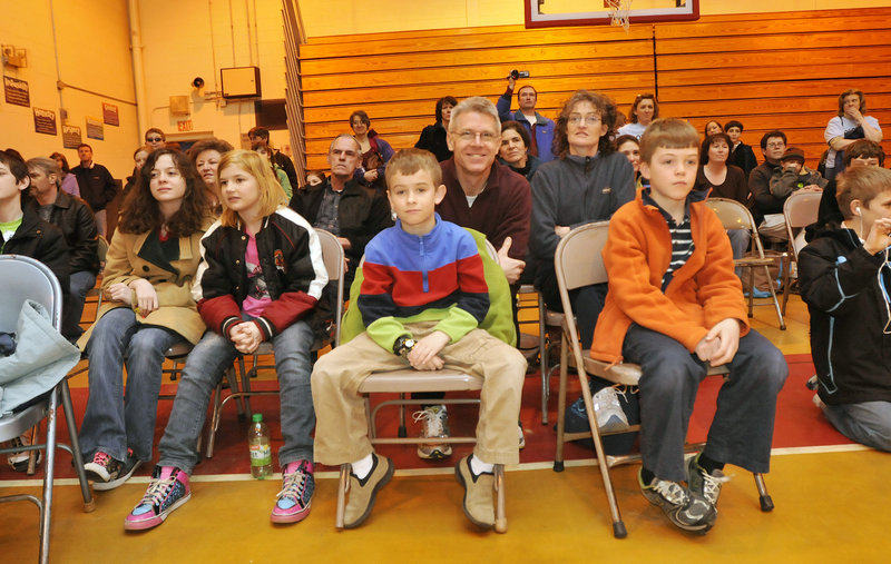 The crowd looks on as Village Elementary School of Gorham competes in the Extreme Mouse Mobiles division of the Odyssey of the Mind state tournament Saturday. The team from Village Elementary went on to tie for first place in the competition.