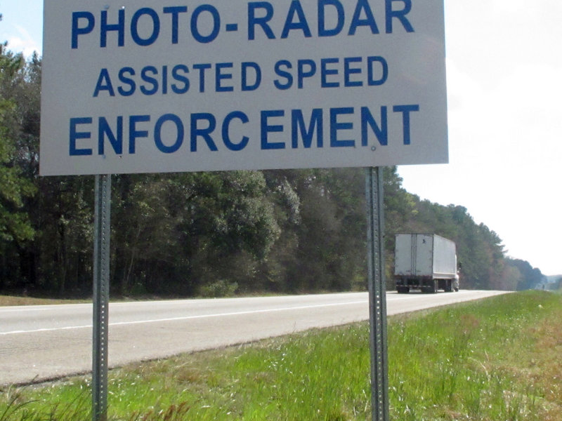 A sign in Ridgeland, S.C., warns motorists entering town on Interstate 95.