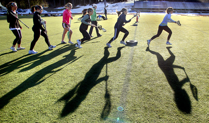 The Yarmouth girls lacrosse team wasted no time getting busy Monday, taking advantage of a clear sky and temperatures in the 40s by diving right into drills. Coaches say they use the first few days of practice to gauge their players fitness levels and to evaluate their strengths.