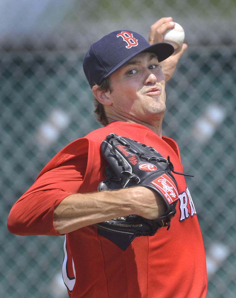 Andrew Miller will be in Pawtucket but Wednesday pitched for the Sea Dogs in an exhibition. He struck out six in four innings.