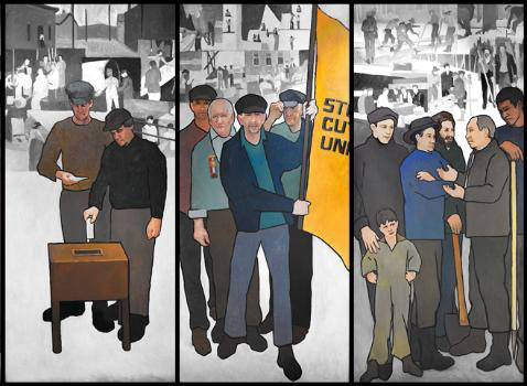 Maine Department of Labor mural, panels 4-6.