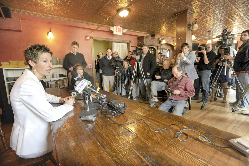 Cindy Blodgett holds a press conference at Paddy Murphy's pub in Bangor on Thursday about her firing as women's basketball coach at the University of Maine.