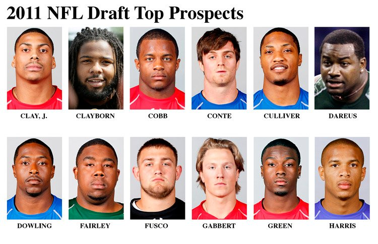 Top NFL Draft prospects are, top row from left: John Clay, RB, Wisconsin; Adrian Clayborn, DE, Iowa; Randall Cobb, WR, Kentucky; Chris Conte, FS, California; Chris Culliver, FS, South Carolina; Marcell Dareus, DT, Alabama. Bottom row, from left: Ras-I Dowling, CB, Virginia; Nick Fairley, DT, Auburn; Brandon Fusco, C, Slippery Rock; Blaine Gabbert, QB, Missouri; A.J. Green, WR, Georgia; Brandon Harris, CB, Miami.
